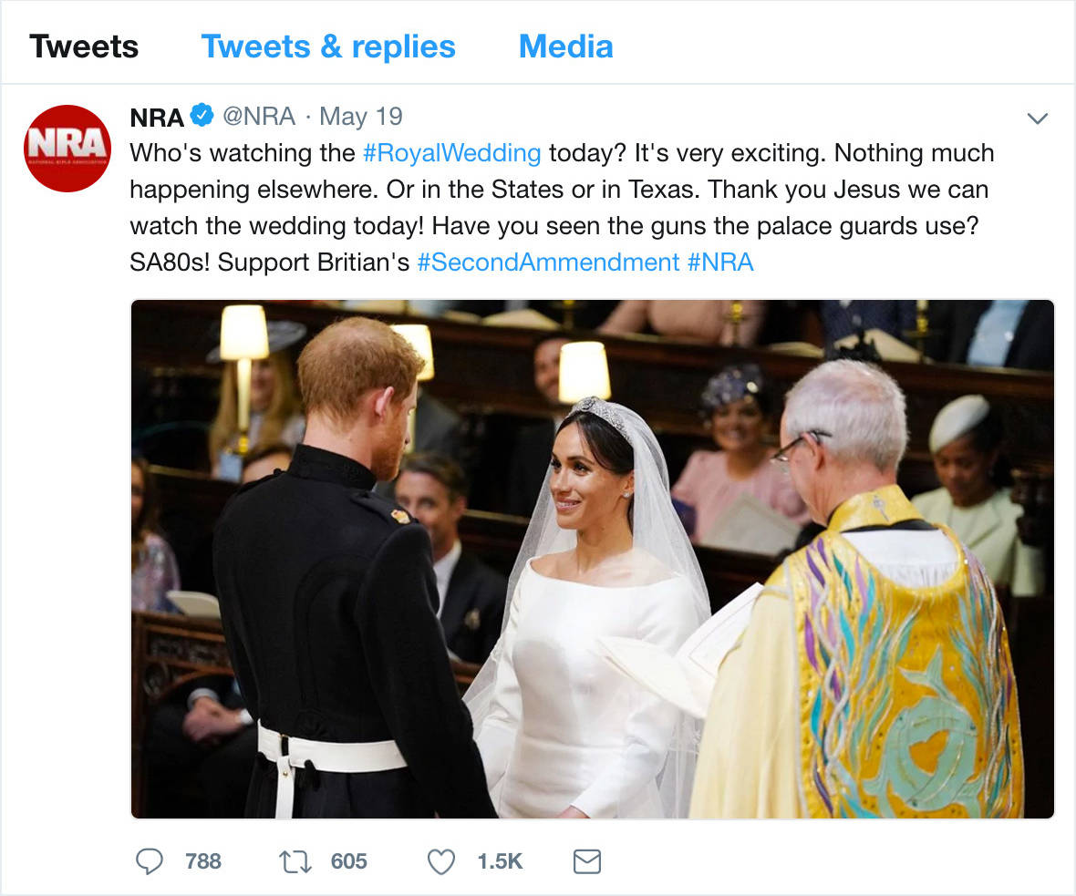 NRA Tweets After Texas with Hashtag #RoyalWedding